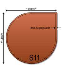 Glasbodenplatte 6 mm Bronce getönt