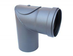 Pelletrohr DN 80 mm Winkel 90° mit Tür in Grau