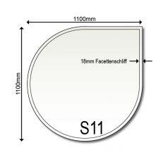 Glasbodenplatte Funkenschutz Kamin S11 1100 x 1100 x 6 mm
