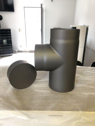 Rauchrohr grau DN 150 mm T - Stück mit Deckel