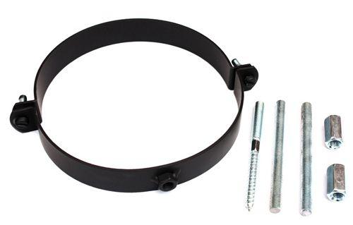 Rauchrohr schwarz DN 150 mm Halteschelle Wandhalter