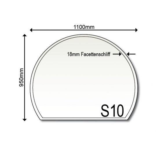 Glasbodenplatte Kamin S10 1100 x 950 x 6mm
