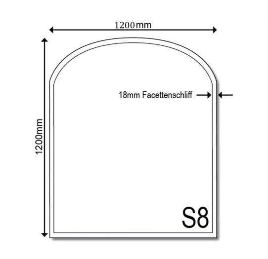 Glasbodenplatte Kamin S8 Groß 1200 x 1200 x 6mm