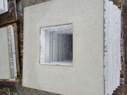 Abdeckplatte 75x75cm aus Beton mit Wassernase 25x25 cm Ausschnitt